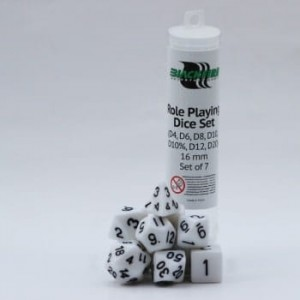 Blackfire Dice - 16mm Role Playing Dice Set - White (7 kości)