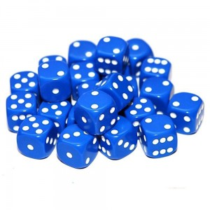 12mm Opaque Blue Dice D6 x 20