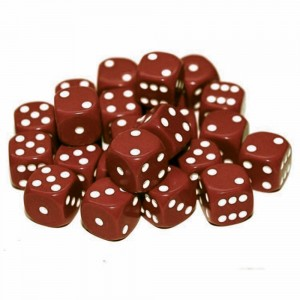 12mm Opaque Brown Dice D6 x 20