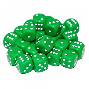 12mm Opaque Green Dice D6 x 20