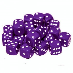 12mm Opaque Purple Dice D6 x 20