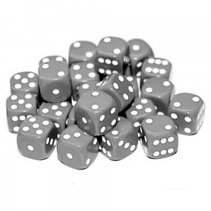 12mm Opaque Grey Dice D6 x 20