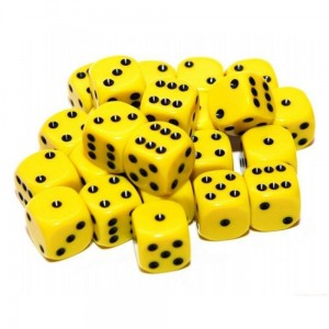 12mm Opaque Yellow Dice D6 x 20