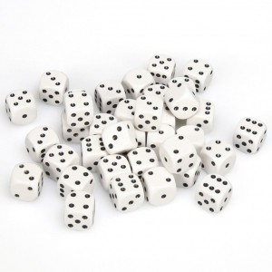 12mm Opaque White Dice D6 x 20