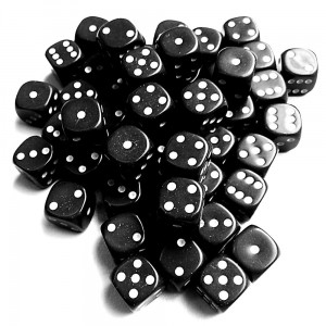 12mm Opaque Black Dice D6 x 20