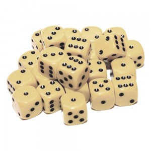 12mm Opaque Ivory Dice D6 x 20