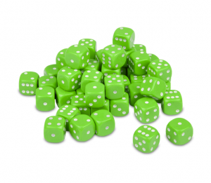 12mm Opaque Lime Green Dice D6 x 20
