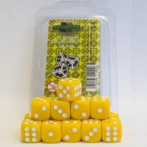 Blackfire Dice - 16mm D6 Dice Set - Yellow (15 kości)